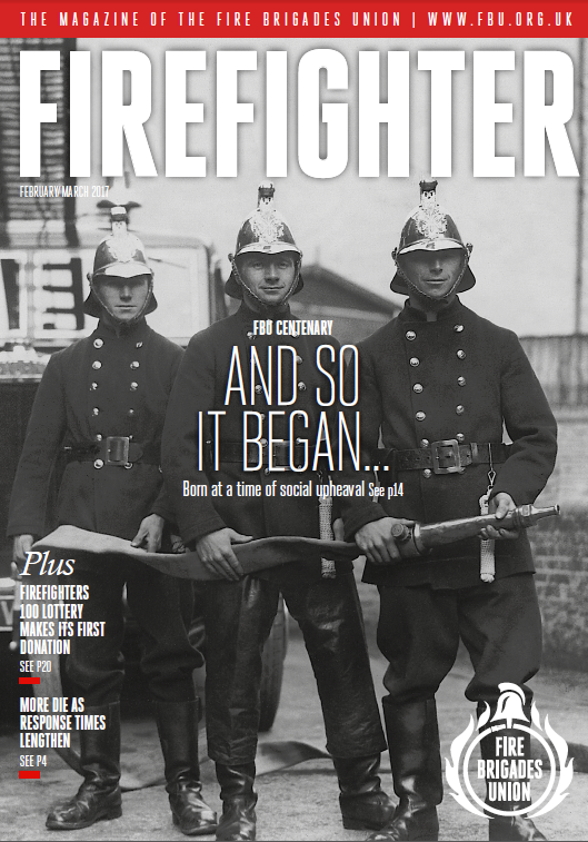 Cover shows three firefighters pictured in 1950s