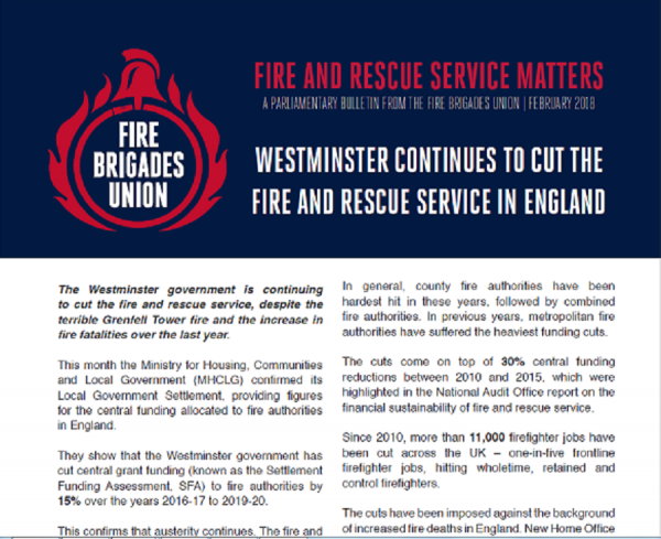 Westminster continues to cut the fire and rescue service in England